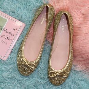 Kate Spade Willa Gold Glitter Flats Ballet Shoes